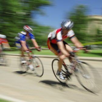 Cyclists descending at speed