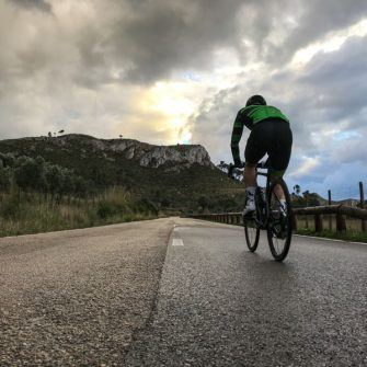Cyclist riding route of Mallorca 312