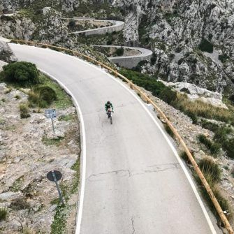Cyclist on the Sa Calobra road, Mallorca