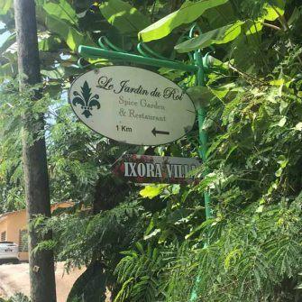 Signpost to Jardin du Roi, Seychelles