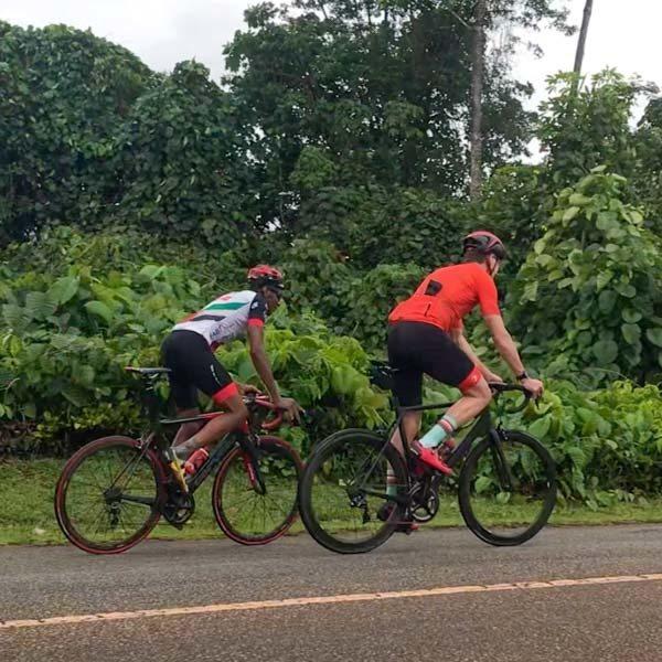 Cyclists on Sans Soucis Road Seychelles