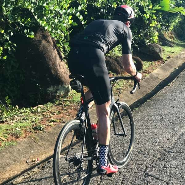 Cyclist cycling Montagne Possee Road Seychelles