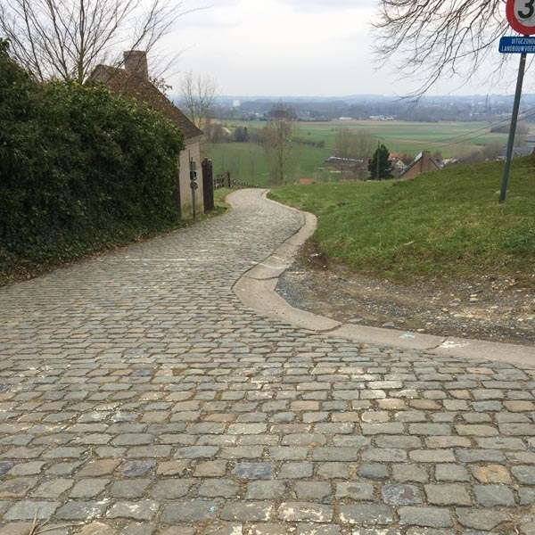 At the top of the Paterberg, cycling climbs in Flanders, Belgium