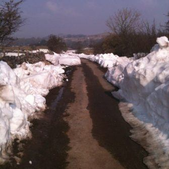 Snow on a road in the Peak District