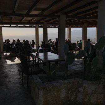 Inside of the Santa Magdalena cafe at the summit of the climb