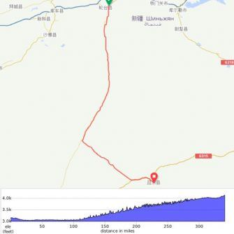 Map of route for Taklamakan Desert world record attempt