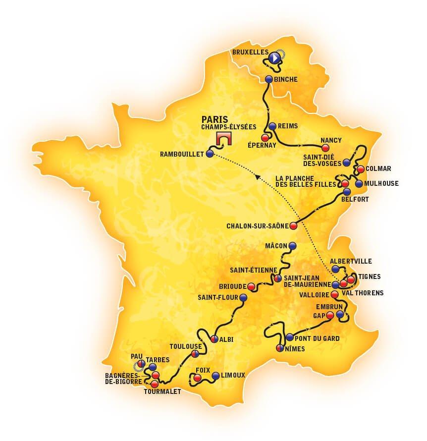 Route of the Tour de France 2019