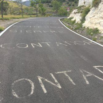 Road markings on the Velefique climb