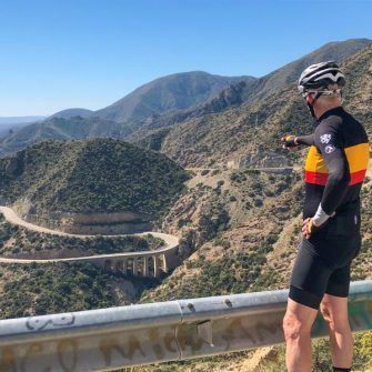 Mirador overlooking mountains and curving road, Costa Almeria, Spain