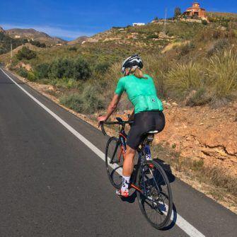 Cyclist on spanish road, almeria