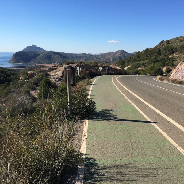 View from the top of the green mile, cycling La Manga, Spain