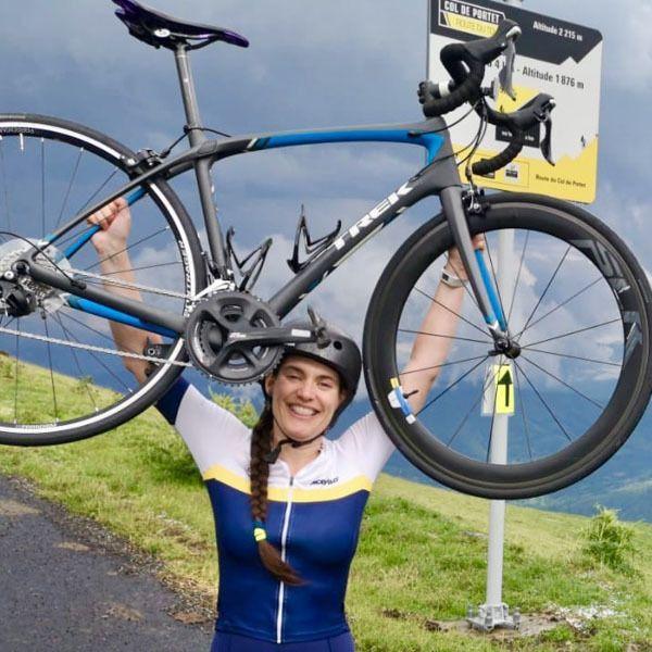 Cyclist finishing the tour de france route