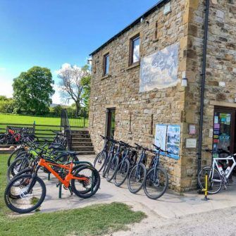 Bikes outside the Dales Cycle Centre and Cafe, Hawes