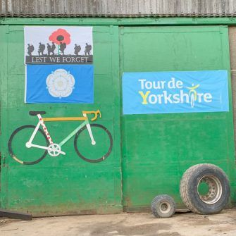 Yorkshire loves cycling - garage with tour de yorkshire and bicycle prints on it