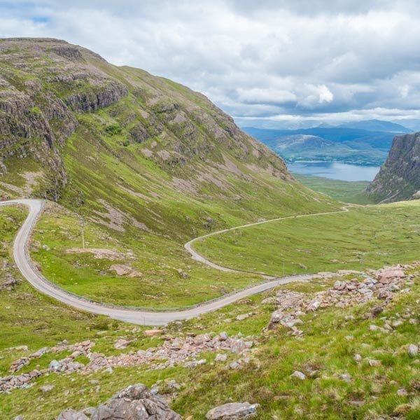 Applecross Pass viewpoint, top of Bealach na Ba, NC500 cycle route Scotland