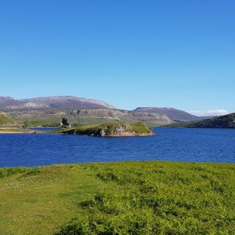 Loch Assynt on the way to Lchinver on the North Coast 500 cycle route, Scotland