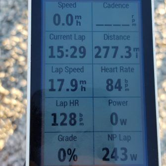 Garmin showing elevation gain for day 1 of NC500 cycle route scotland