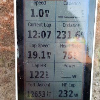 Garmin cycling computer showing day 2 of NC500 ride