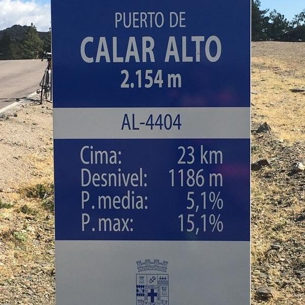 Summit sign on calar alto cycling climb, Almeria
