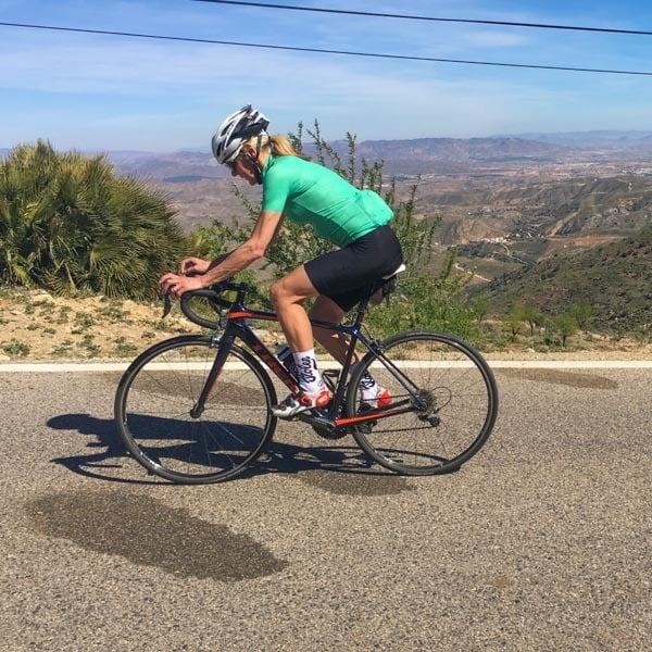 Cyclist cycling Costa Almeria, Spain