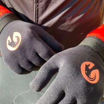 Stolen goat cycling gloves in black with orange motif