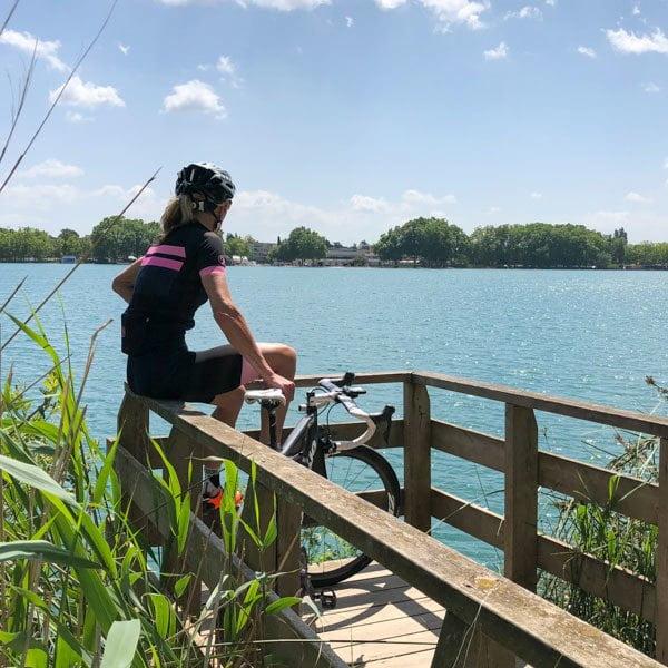 Cyclist at Lake Banyoles near Girona