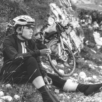 Cyclist Emily Chappell resting during ultra endurance transcontinental race