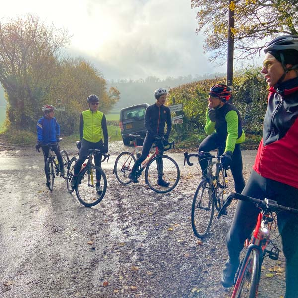 Cyclists meeting South Downs National Park