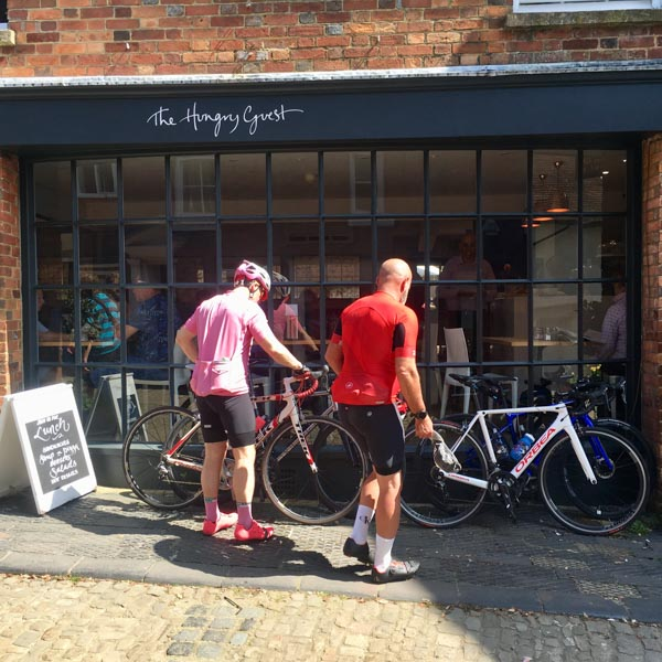 Cyclists outside South Downs cafe The Hungry Guest