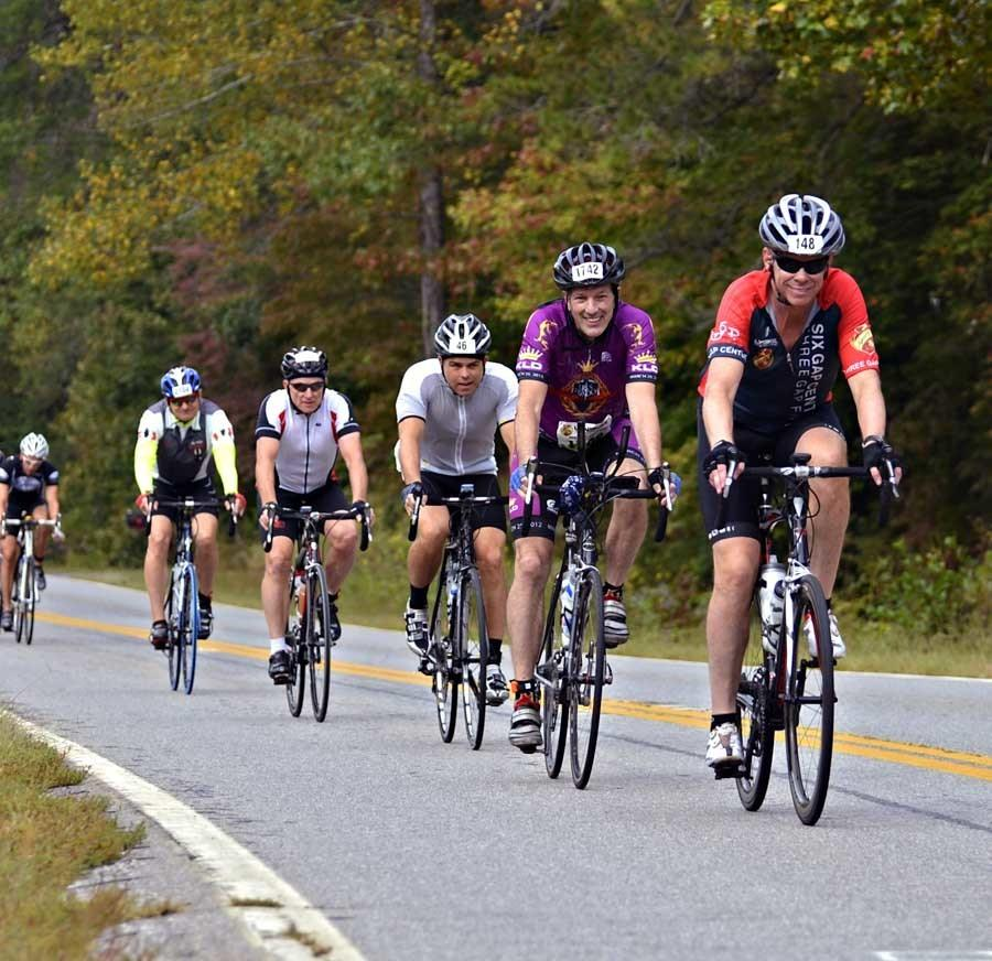 group of road cyclists at a gran fondo event