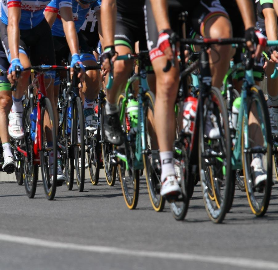 cyclists at the start of a gran fondo