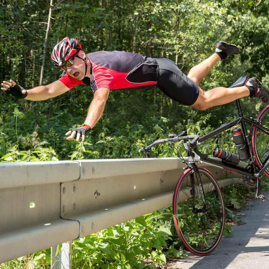 cyclist falling off bicycle