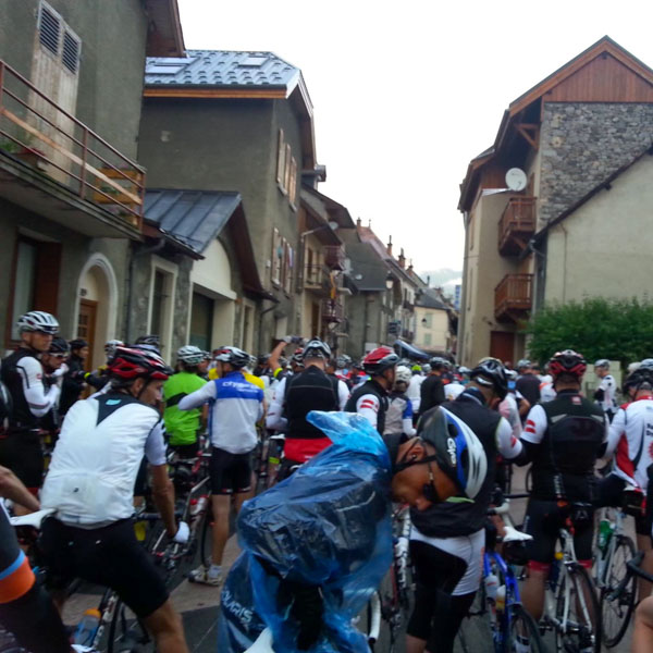 At the start of the Marmotte granfondo