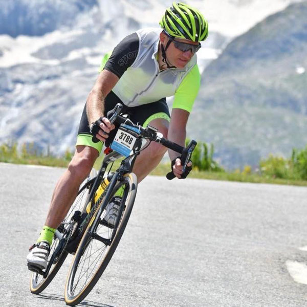 Simon Worsley cycling the Marmotte course