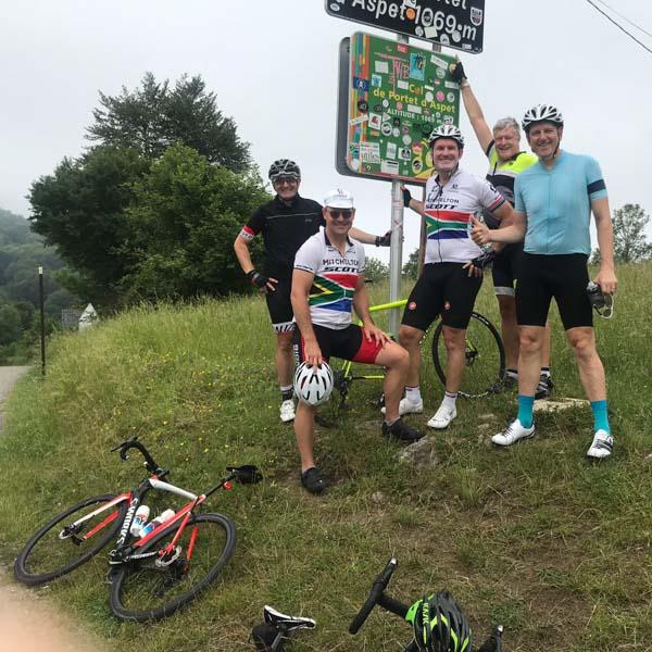 Cyclists on Pyrenees coast to coast route