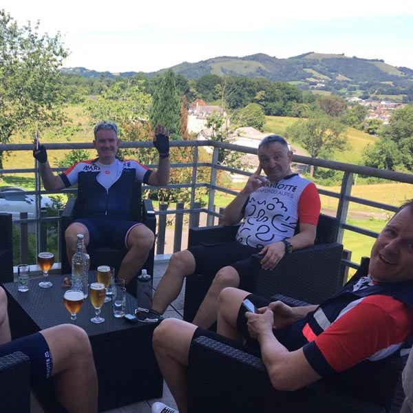 Cyclists relaxing at the end of a day