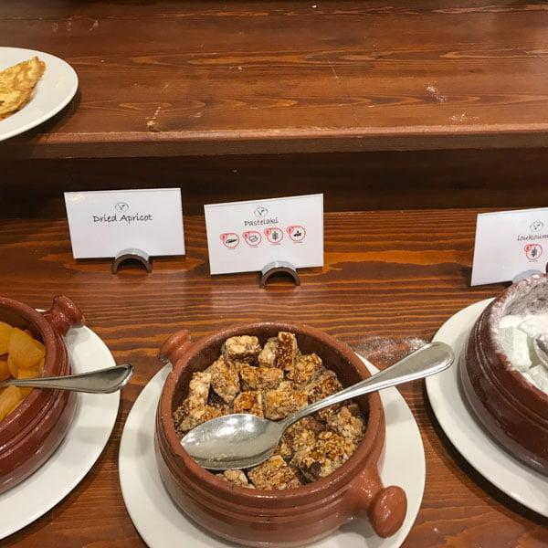 Breakfast options at the Aliathon, Cyprus