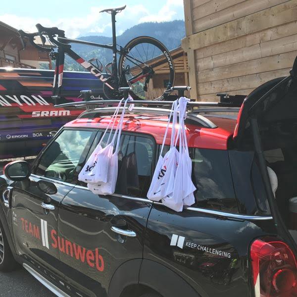 Team car on the Tour de France route