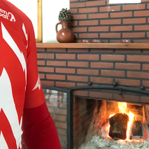 Cyclist and warm fire
