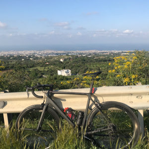 Road bike and view of Cyprus cycling route