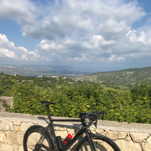 Road bike with a view in Cyprus