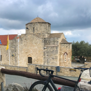church and road bike in Cyprus