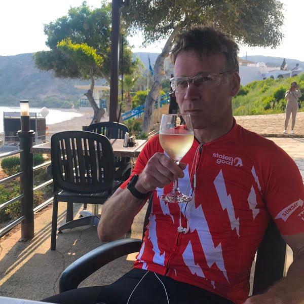 Cyclist drinking wine, Cyprus