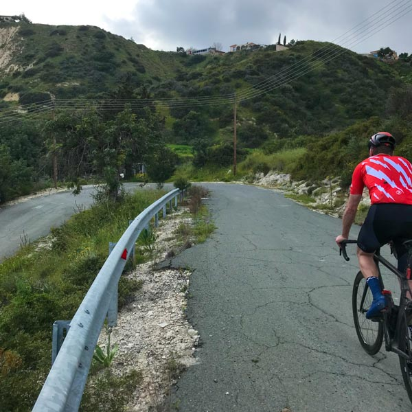 Cyclist on hairpin in Cyprus