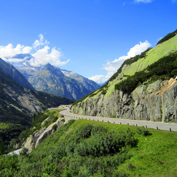 Mountain pass in the Alps ideal for french cycle tours to ride