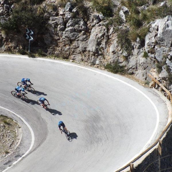 Descending Sa Calobra, a very popular Mallorca cycling route