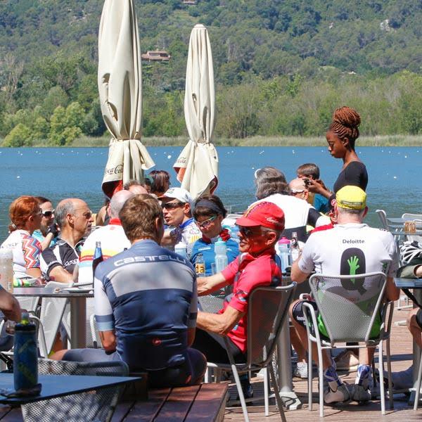 Cyclists at Lake Banyoles near Girona