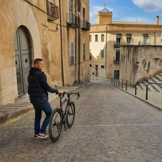 Walking out of Hotel Historic/Casa Casundro apartments Girona
