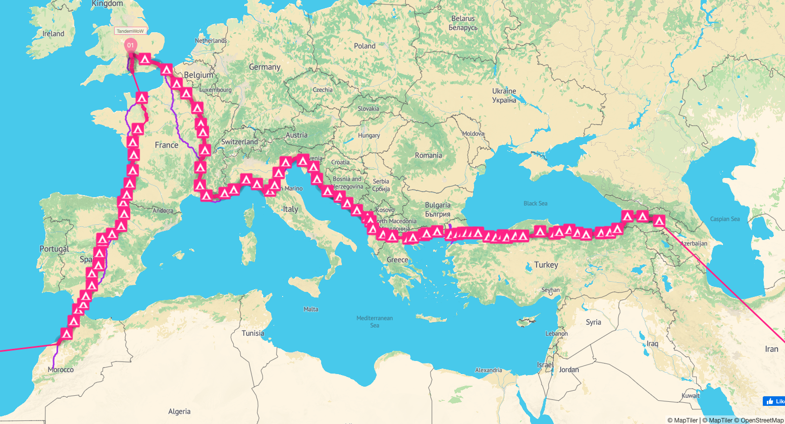 Tandemwow cycle around the world route