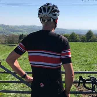 stolen goat cycling climbers jersey from behind